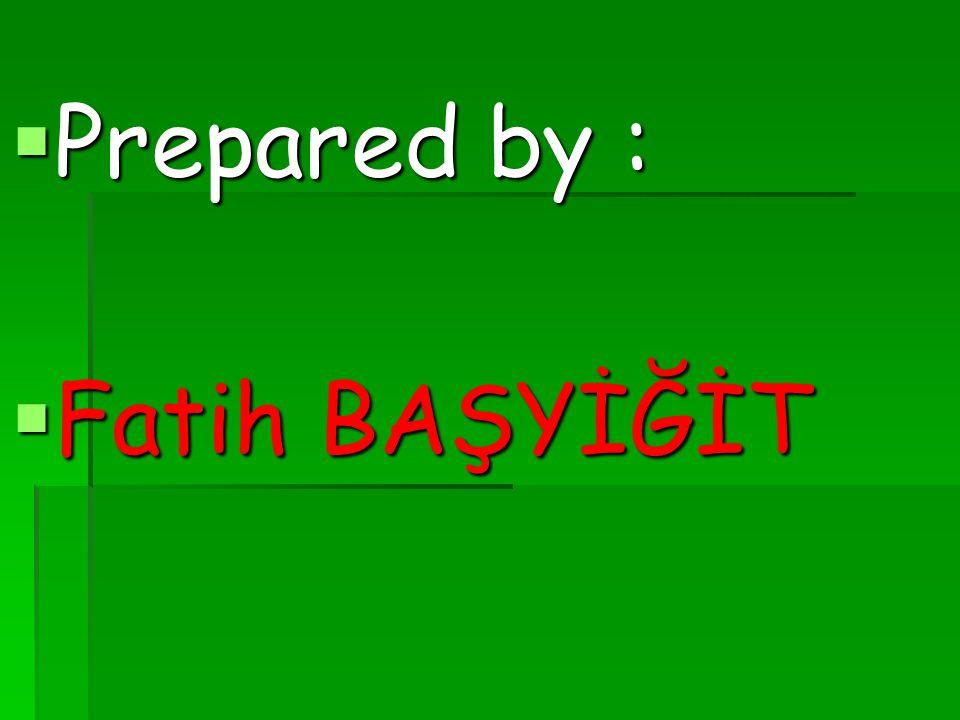  Prepared by :  Fatih BAŞYİĞİT