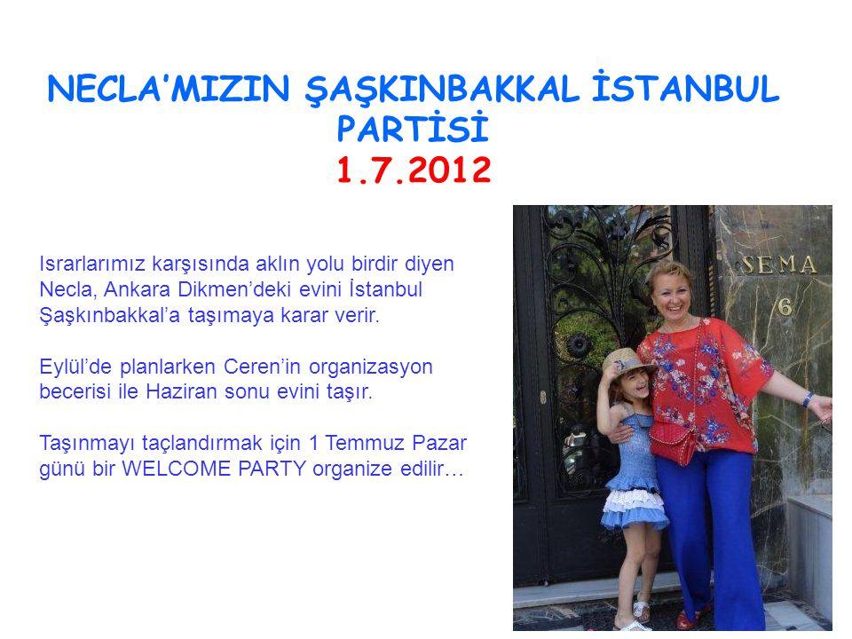 NECLA'MIZIN ŞAŞKINBAKKAL İSTANBUL PARTİSİ 1.7.2012 Israrlarımız karşısında aklın yolu birdir diyen Necla, Ankara Dikmen'deki evini İstanbul Şaşkınbakkal'a taşımaya karar verir.