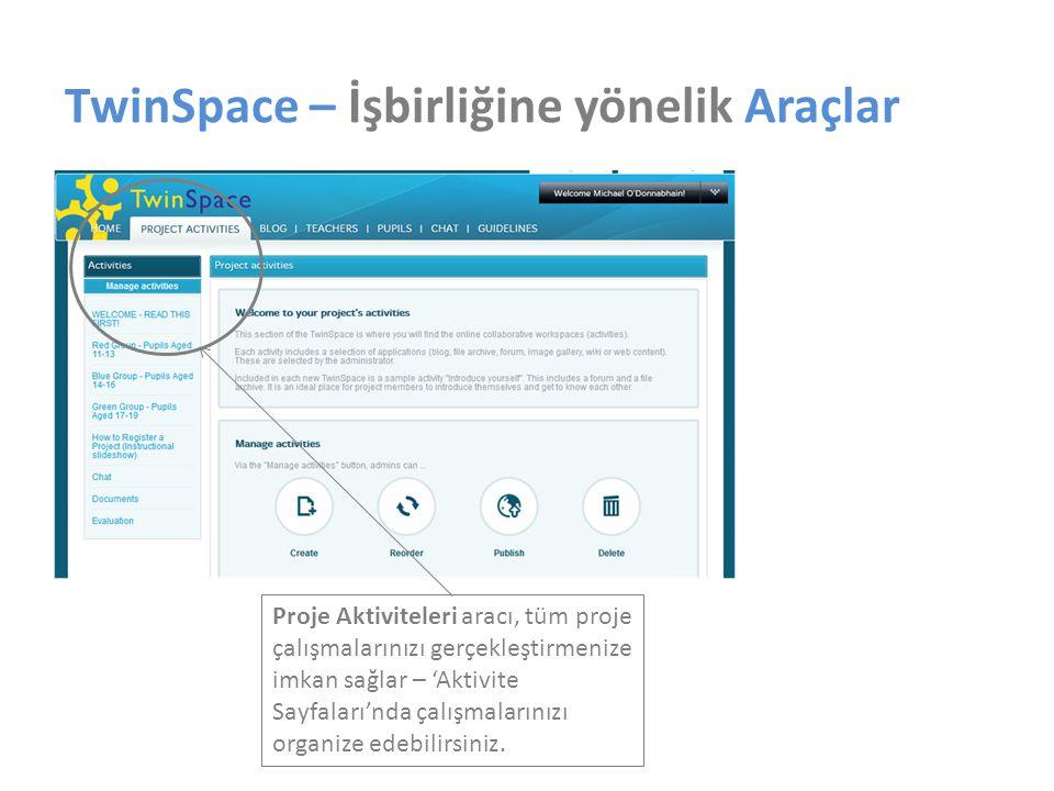 TwinSpace – İşbirliğine yönelik Araçlar Proje Aktiviteleri aracı, tüm proje çalışmalarınızı gerçekleştirmenize imkan sağlar – 'Aktivite Sayfaları'nda