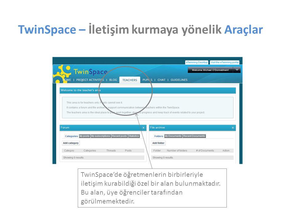 TwinSpace – İletişim kurmaya yönelik Araçlar TwinSpace'de öğretmenlerin birbirleriyle iletişim kurabildiği özel bir alan bulunmaktadır. Bu alan, üye ö