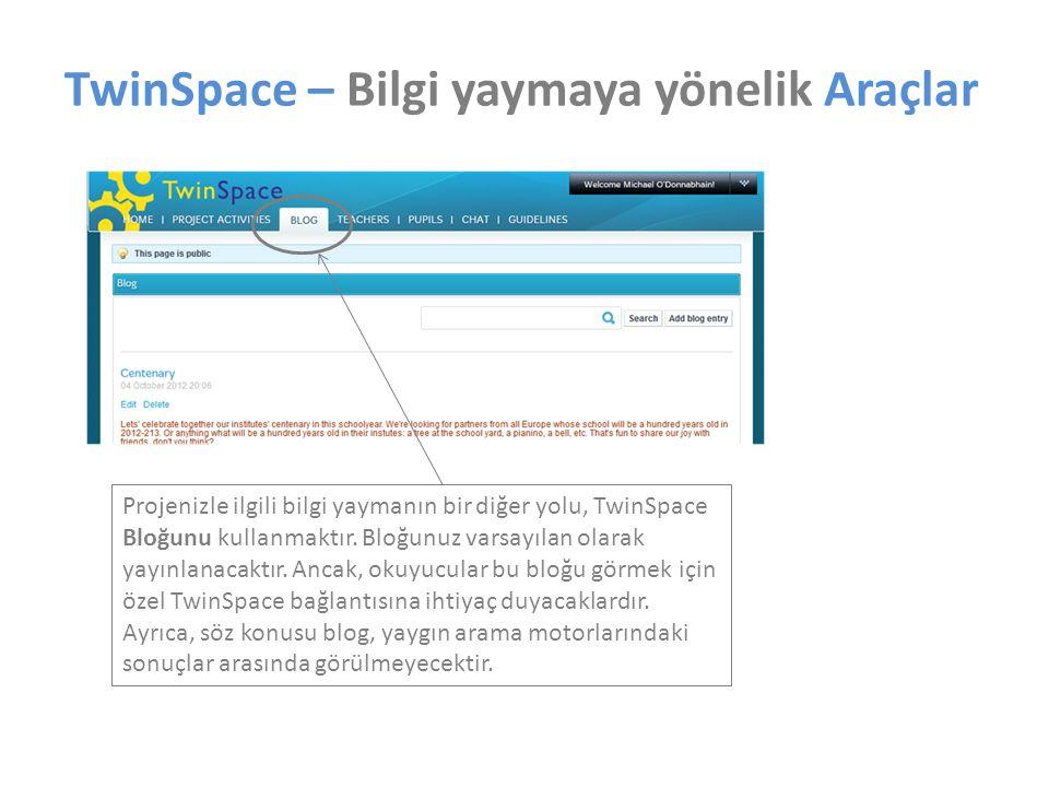 Projenizle ilgili bilgi yaymanın bir diğer yolu, TwinSpace Bloğunu kullanmaktır. Bloğunuz varsayılan olarak yayınlanacaktır. Ancak, okuyucular bu bloğ