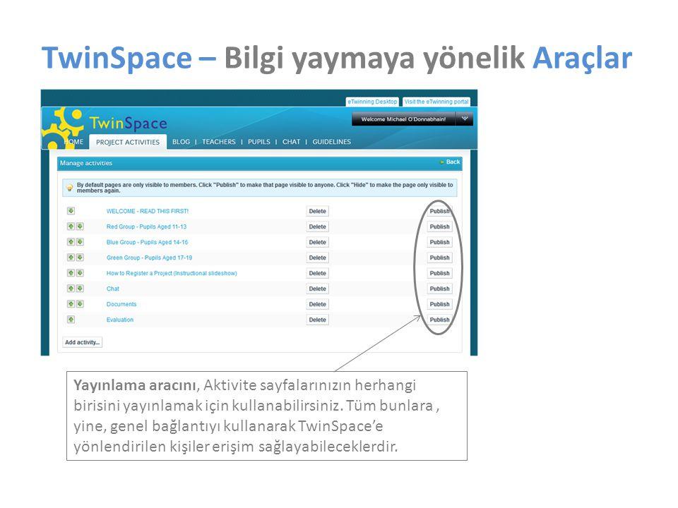 Yayınlama aracını, Aktivite sayfalarınızın herhangi birisini yayınlamak için kullanabilirsiniz.