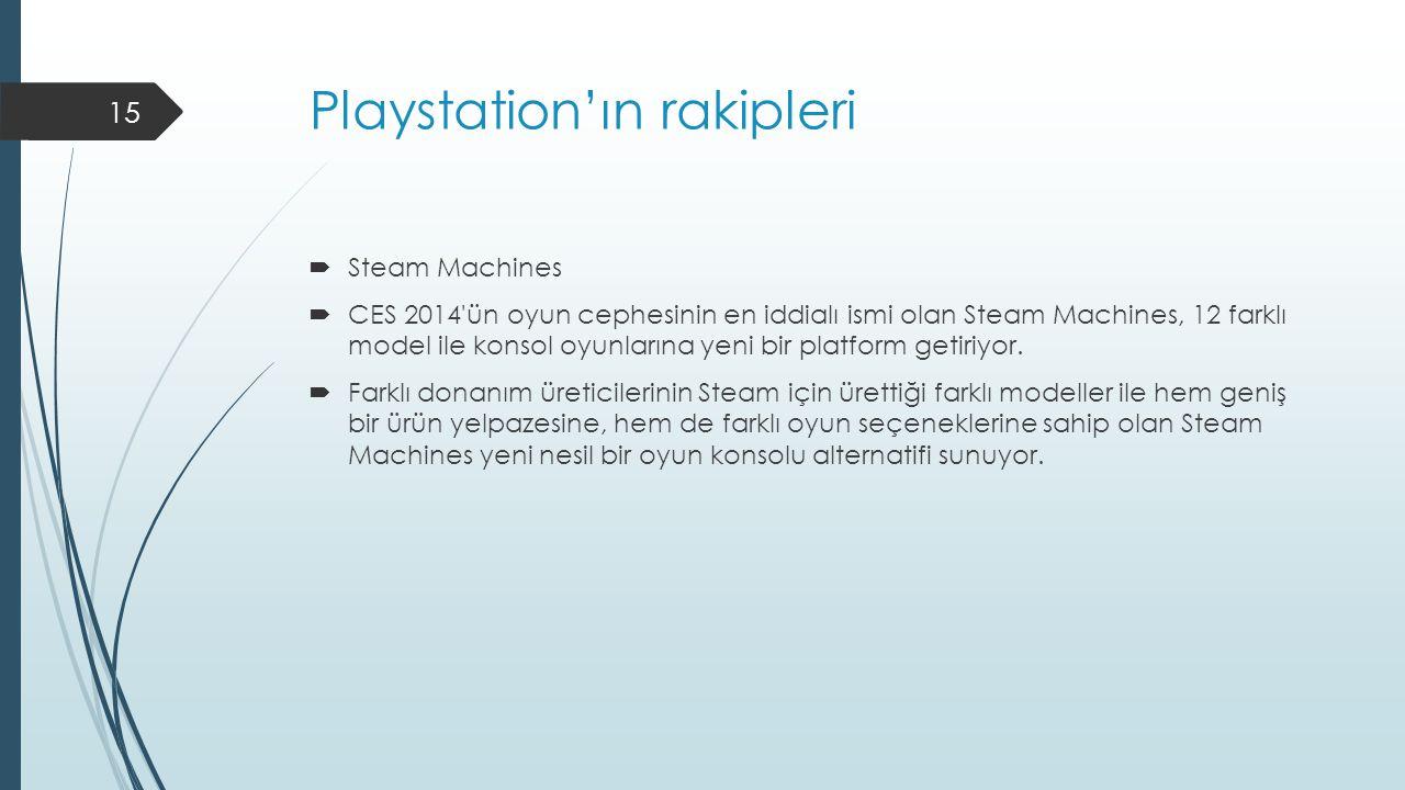 Playstation'ın rakipleri  Steam Machines  CES 2014 ün oyun cephesinin en iddialı ismi olan Steam Machines, 12 farklı model ile konsol oyunlarına yeni bir platform getiriyor.