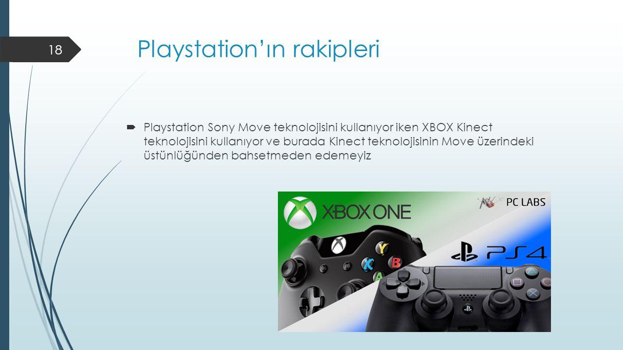Playstation'ın rakipleri  Playstation Sony Move teknolojisini kullanıyor iken XBOX Kinect teknolojisini kullanıyor ve burada Kinect teknolojisinin Move üzerindeki üstünlüğünden bahsetmeden edemeyiz 18
