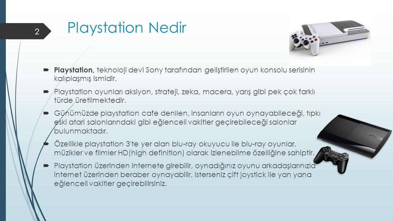 Playstation Nedir  Playstation, teknoloji devi Sony tarafından geliştirilen oyun konsolu serisinin kalıplaşmış ismidir.  Playstation oyunları aksiyo