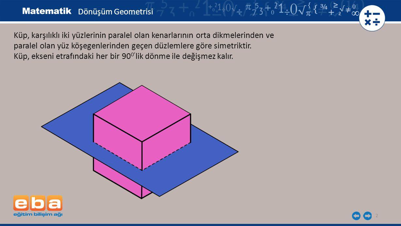 2 Küp, karşılıklı iki yüzlerinin paralel olan kenarlarının orta dikmelerinden ve paralel olan yüz köşegenlerinden geçen düzlemlere göre simetriktir. K