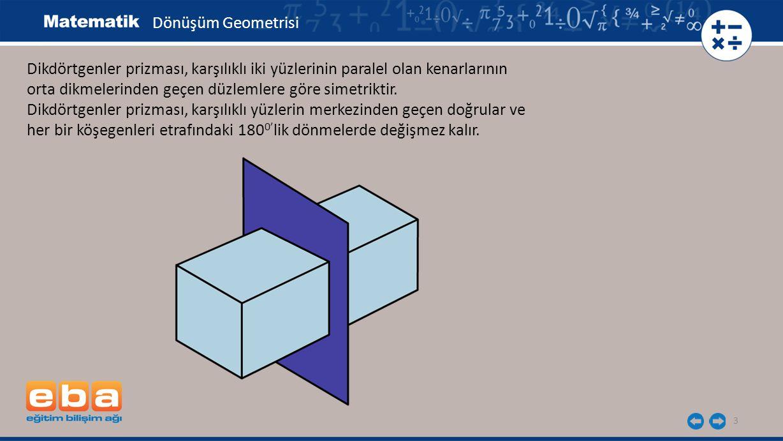 3 Dikdörtgenler prizması, karşılıklı iki yüzlerinin paralel olan kenarlarının orta dikmelerinden geçen düzlemlere göre simetriktir. Dikdörtgenler priz