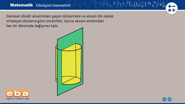 4 Dairesel silindir ekseninden geçen düzlemlere ve ekseni dik olarak ortalayan düzleme göre simetriktir. Ayrıca ekseni etrafındaki her bir dönmede değ