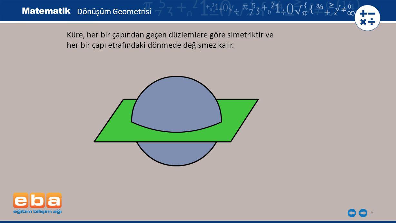 5 Küre, her bir çapından geçen düzlemlere göre simetriktir ve her bir çapı etrafındaki dönmede değişmez kalır. Dönüşüm Geometrisi