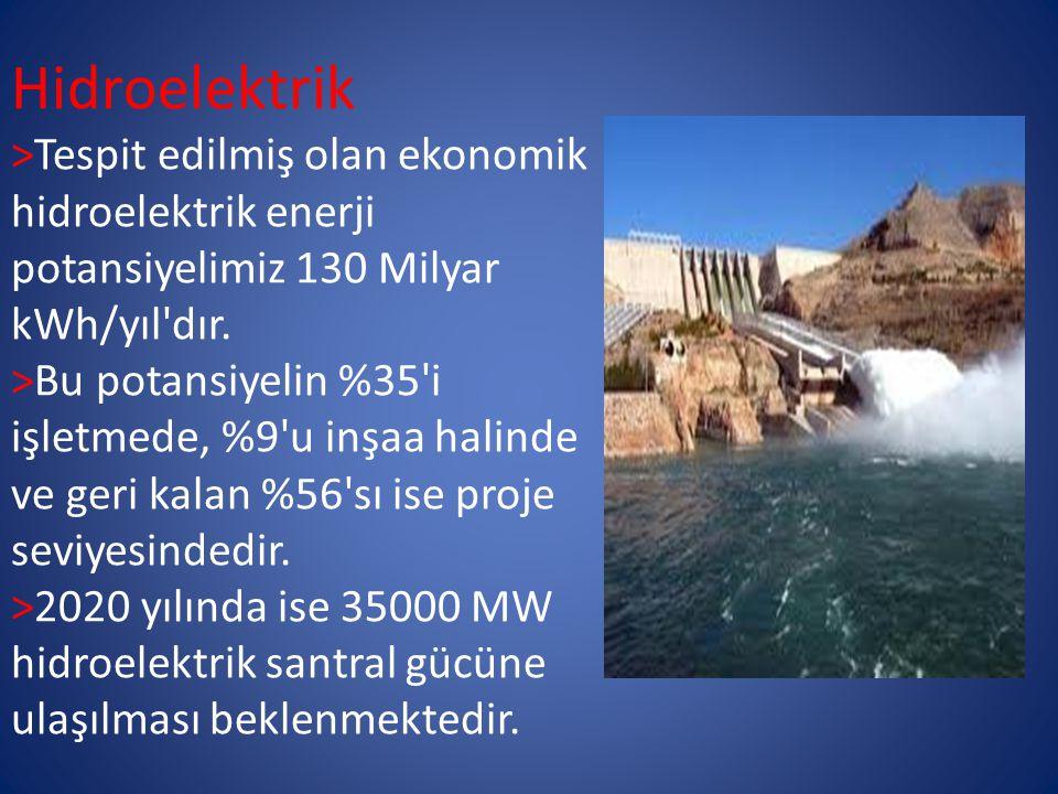 Hidroelektrik >Tespit edilmiş olan ekonomik hidroelektrik enerji potansiyelimiz 130 Milyar kWh/yıl dır.