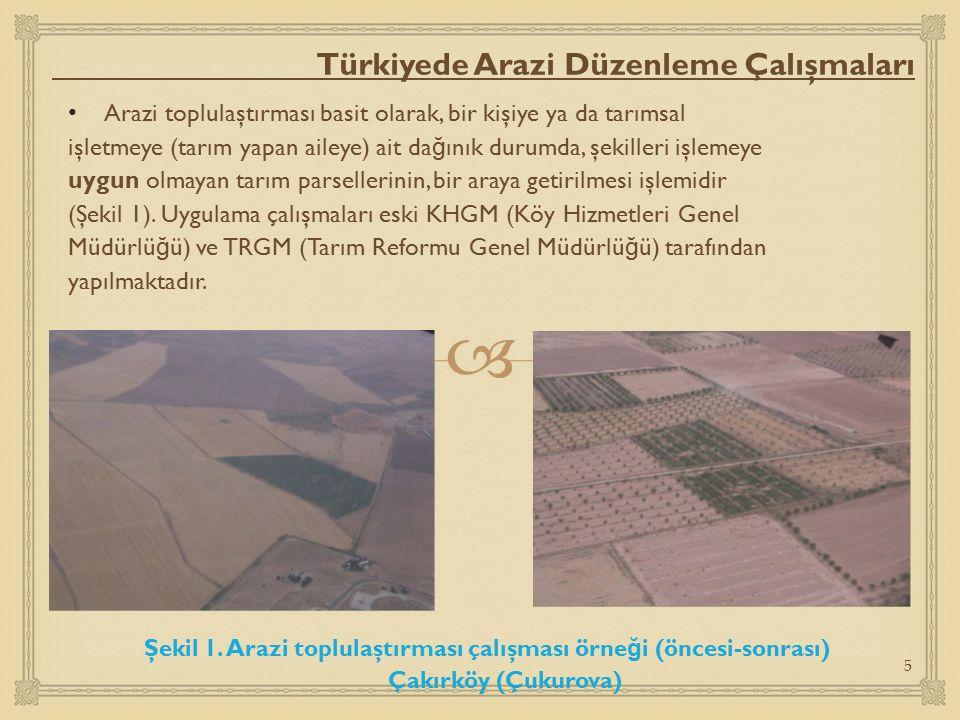  Türkiyede Arazi Düzenleme Çalışmaları Arazi toplulaştırması basit olarak, bir kişiye ya da tarımsal işletmeye (tarım yapan aileye) ait da ğ ınık dur