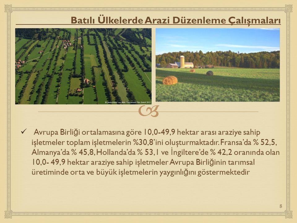  Türkiye ve Batılı Ülkelerde Arazi Düzenlemede Kıyaslama Ülkemizde 1980 tarım sayımı sonuçlarına göre,1-99 dekar arasında araziye sahip işletmeler, tüm işletmelerin % 81.8'ini oluşturmaktadır.