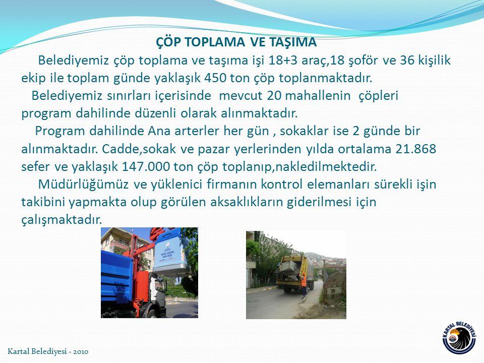 ÇÖP TOPLAMA VE TAŞIMA Belediyemiz çöp toplama ve taşıma işi 18+3 araç,18 şoför ve 36 kişilik ekip ile toplam günde yaklaşık 450 ton çöp toplanmaktadır