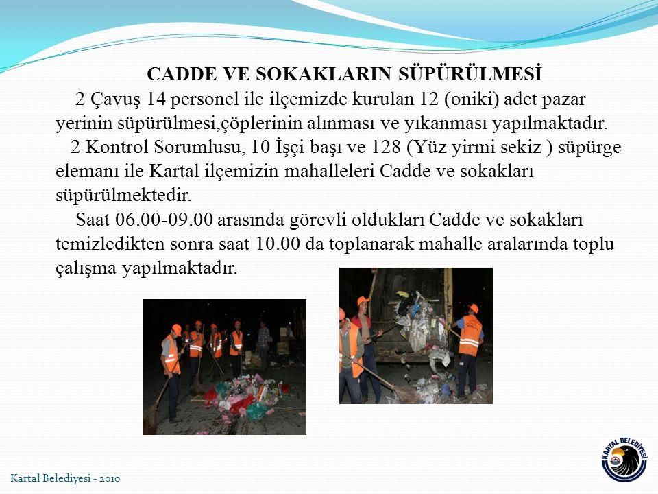 CADDE VE SOKAKLARIN SÜPÜRÜLMESİ 2 Çavuş 14 personel ile ilçemizde kurulan 12 (oniki) adet pazar yerinin süpürülmesi,çöplerinin alınması ve yıkanması y