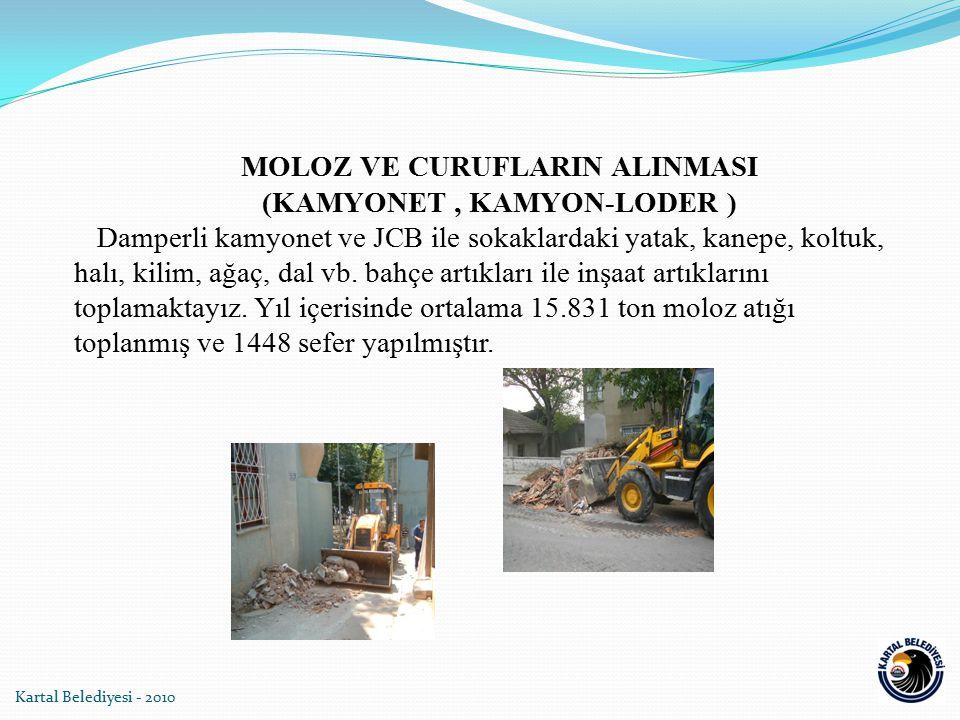 Kartal Belediyesi - 2010 MOLOZ VE CURUFLARIN ALINMASI (KAMYONET, KAMYON-LODER ) Damperli kamyonet ve JCB ile sokaklardaki yatak, kanepe, koltuk, halı,