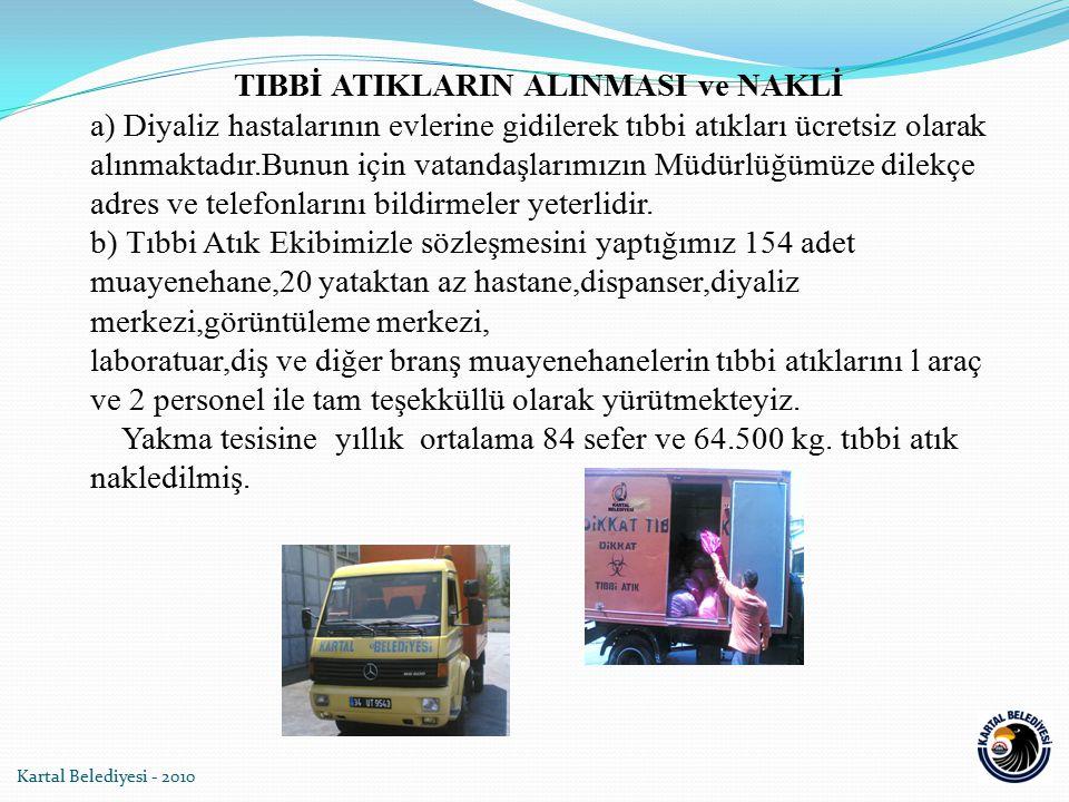 Kartal Belediyesi - 2010 TIBBİ ATIKLARIN ALINMASI ve NAKLİ a) Diyaliz hastalarının evlerine gidilerek tıbbi atıkları ücretsiz olarak alınmaktadır.Bunu