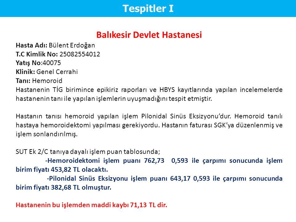 Tespitler II Balıkesir Devlet Hastanesi Hasta Adı: Bedriye BALCI T.C Kimlik No: 11929772626 Klinik: Kalp ve Damar Cerrahisi Servisi Tanı: Kalp Kapağı Protezi Hastanın SGK fatura edilen tutar 8.644 TL'dir.