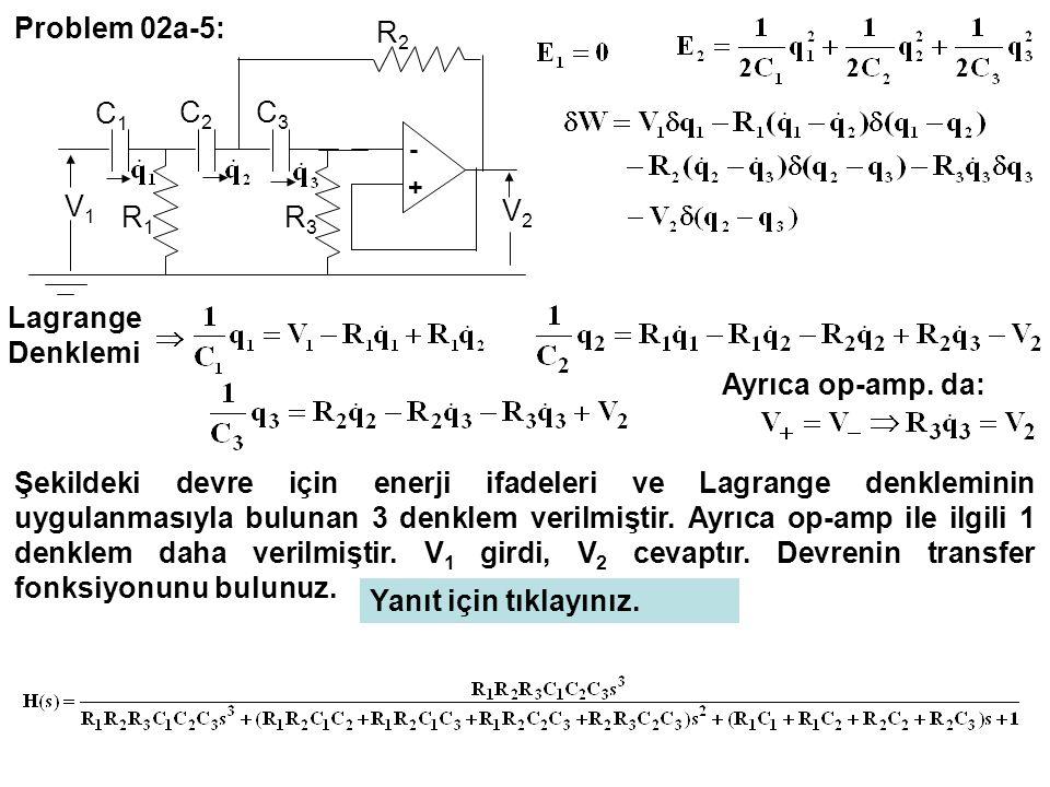 - + C3C3 C2C2 C1C1 R3R3 R1R1 R2R2 V2V2 V1V1 Problem 02a-5: Lagrange Denklemi Ayrıca op-amp. da: Şekildeki devre için enerji ifadeleri ve Lagrange denk