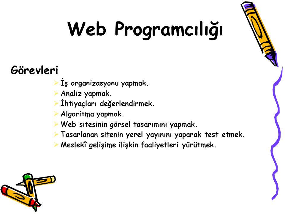 Web Programcılığı Görevleri  İş organizasyonu yapmak.  Analiz yapmak.  İhtiyaçları değerlendirmek.  Algoritma yapmak.  Web sitesinin görsel tasar
