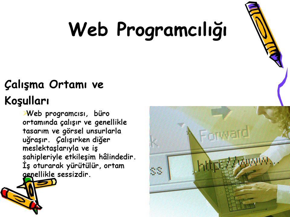 Web Programcılığı Çalışma Ortamı ve Koşulları  Web programcısı, büro ortamında çalışır ve genellikle tasarım ve görsel unsurlarla uğraşır. Çalışırken