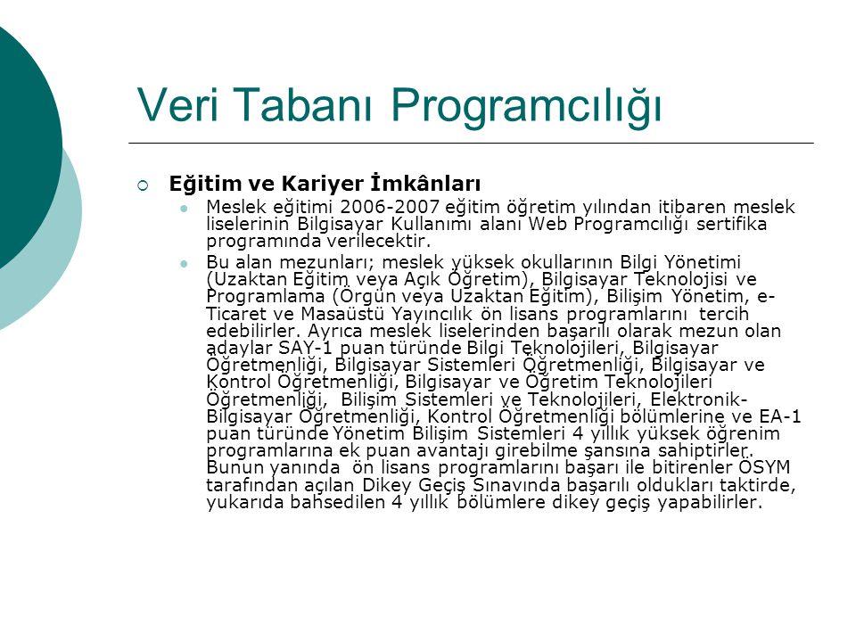 Veri Tabanı Programcılığı  Eğitim ve Kariyer İmkânları Meslek eğitimi 2006-2007 eğitim öğretim yılından itibaren meslek liselerinin Bilgisayar Kullan
