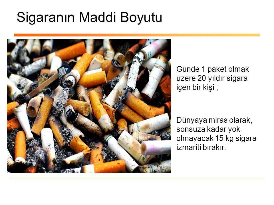 Sigaranın Maddi Boyutu Günde 1 paket olmak üzere 20 yıldır sigara içen bir kişi ; Dünyaya miras olarak, sonsuza kadar yok olmayacak 15 kg sigara izmar