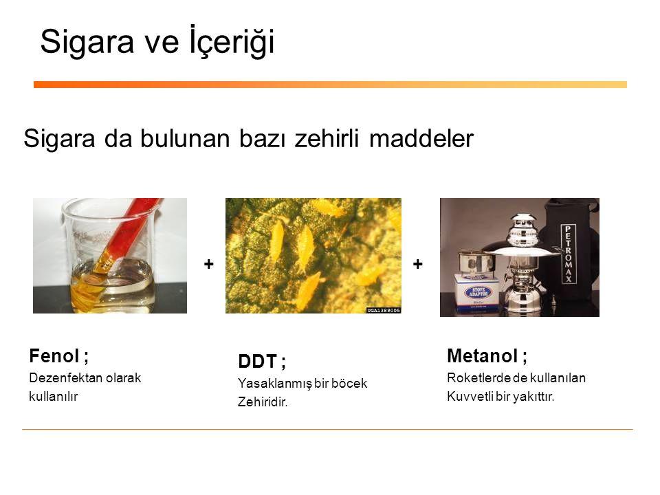 Sigara ve İçeriği Metanol ; Roketlerde de kullanılan Kuvvetli bir yakıttır. Sigara da bulunan bazı zehirli maddeler DDT ; Yasaklanmış bir böcek Zehiri