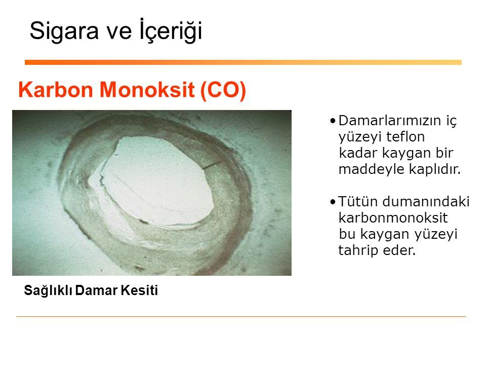 Sigara ve İçeriği Karbon Monoksit (CO) Tıkalı Damar Kesiti Damar yüzeyinin tahrip olmasının sonucu ; DAMAR TIKANIKLIĞI