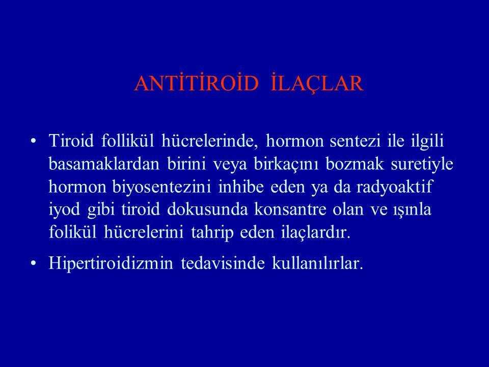 ANTİTİROİD İLAÇLAR Tiroid follikül hücrelerinde, hormon sentezi ile ilgili basamaklardan birini veya birkaçını bozmak suretiyle hormon biyosentezini i