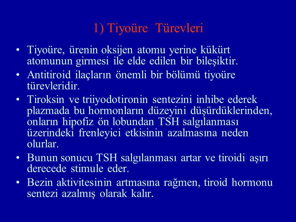 1) Tiyoüre Türevleri Tiyoüre, ürenin oksijen atomu yerine kükürt atomunun girmesi ile elde edilen bir bileşiktir. Antitiroid ilaçların önemli bir bölü