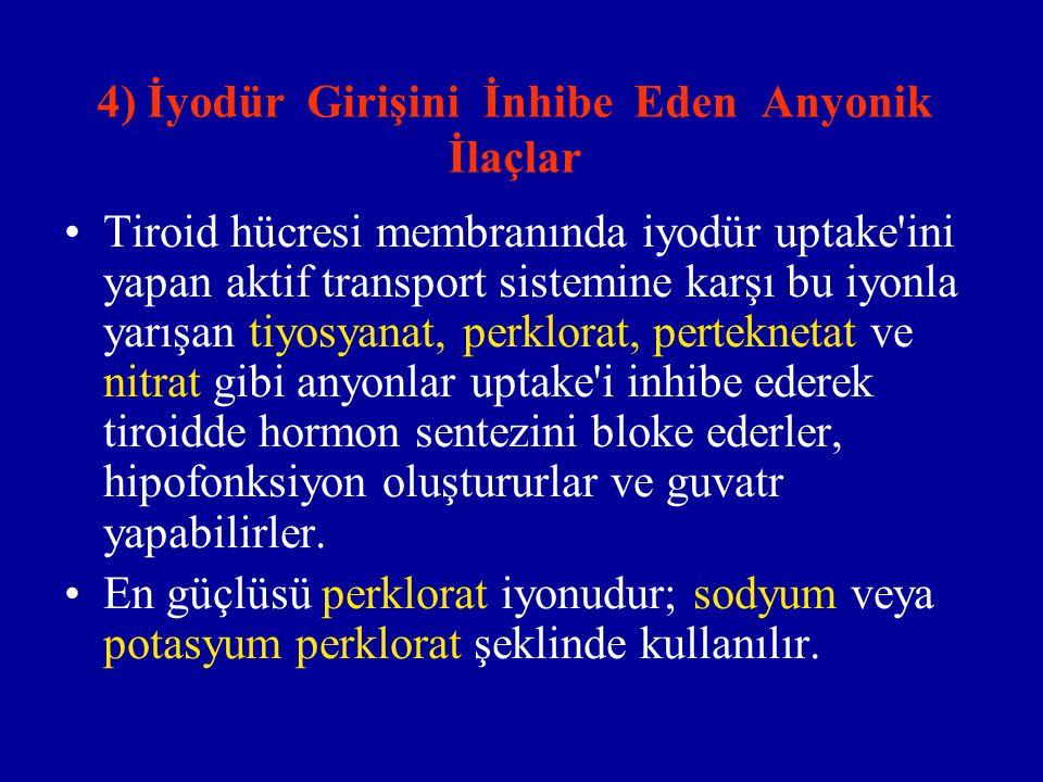 4) İyodür Girişini İnhibe Eden Anyonik İlaçlar Tiroid hücresi membranında iyodür uptake'ini yapan aktif transport sistemine karşı bu iyonla yarışan ti