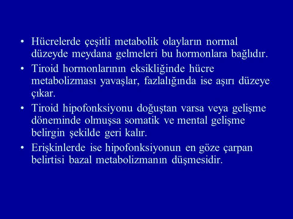 Hücrelerde çeşitli metabolik olayların normal düzeyde meydana gelmeleri bu hormonlara bağlıdır. Tiroid hormonlarının eksikliğinde hücre metabolizması