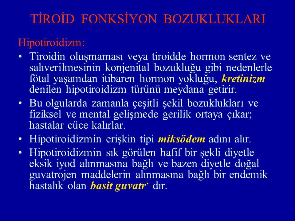 TİROİD FONKSİYON BOZUKLUKLARI Hipotiroidizm: Tiroidin oluşmaması veya tiroidde hormon sentez ve salıverilmesinin konjenital bozukluğu gibi nedenlerle
