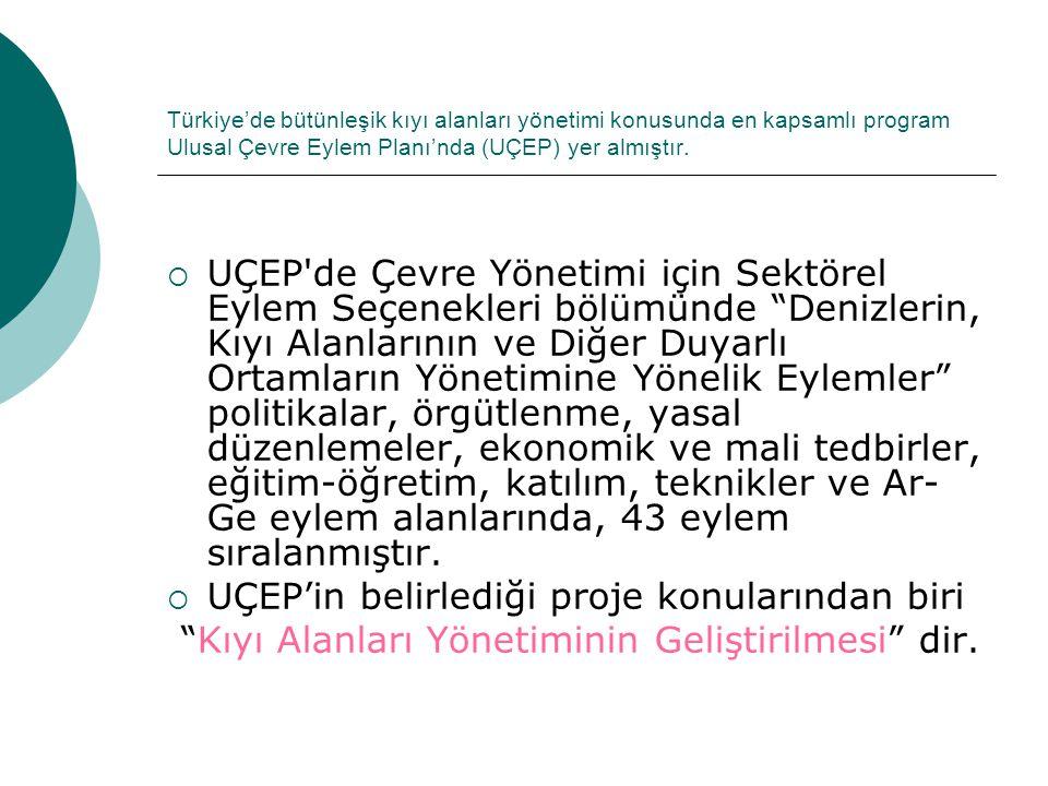 Türkiye'de bütünleşik kıyı alanları yönetimi konusunda en kapsamlı program Ulusal Çevre Eylem Planı'nda (UÇEP) yer almıştır.  UÇEP'de Çevre Yönetimi