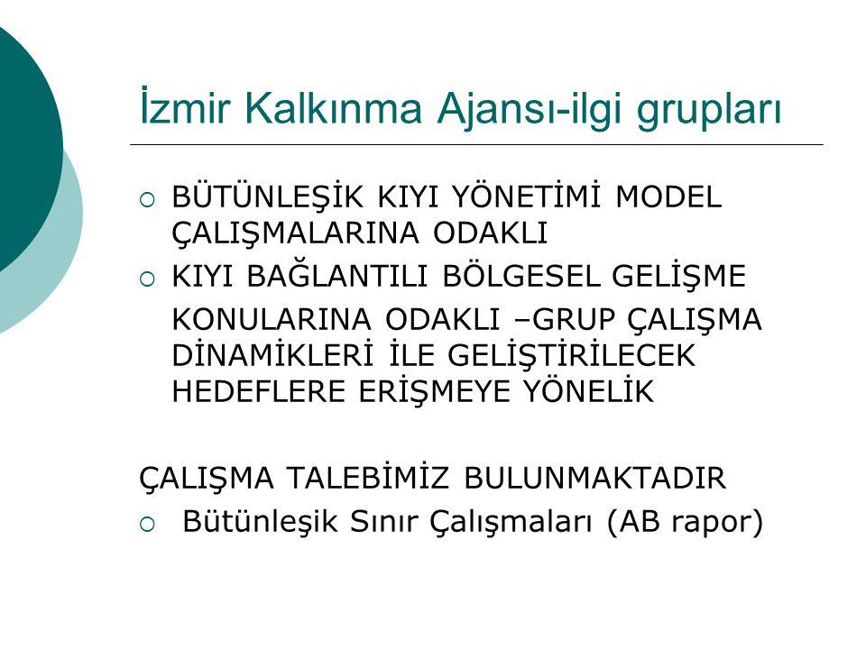 İzmir Kalkınma Ajansı-ilgi grupları  BÜTÜNLEŞİK KIYI YÖNETİMİ MODEL ÇALIŞMALARINA ODAKLI  KIYI BAĞLANTILI BÖLGESEL GELİŞME KONULARINA ODAKLI –GRUP Ç