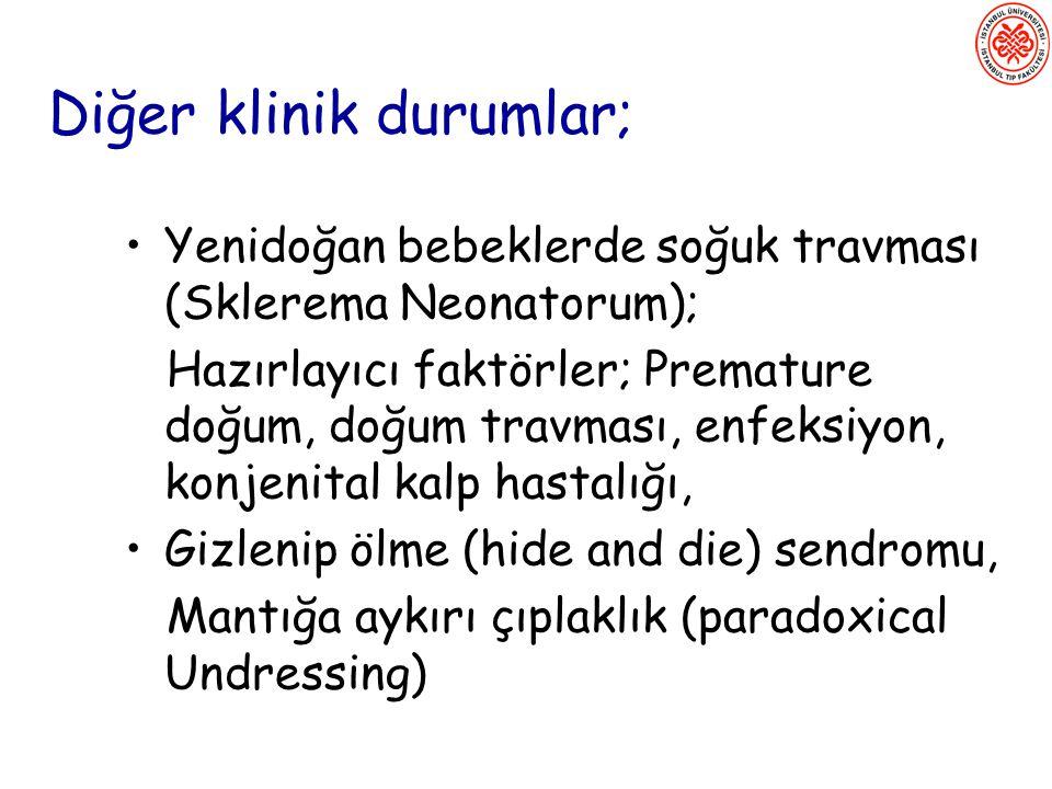 Diğer klinik durumlar; Yenidoğan bebeklerde soğuk travması (Sklerema Neonatorum); Hazırlayıcı faktörler; Premature doğum, doğum travması, enfeksiyon,