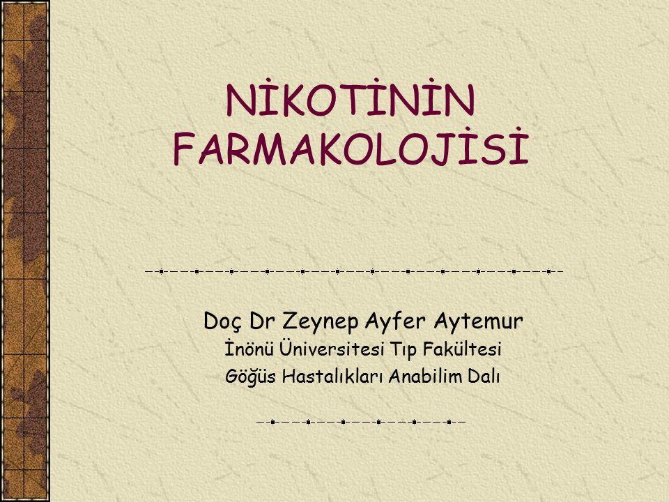 NİKOTİNİN FARMAKOLOJİSİ Doç Dr Zeynep Ayfer Aytemur İnönü Üniversitesi Tıp Fakültesi Göğüs Hastalıkları Anabilim Dalı