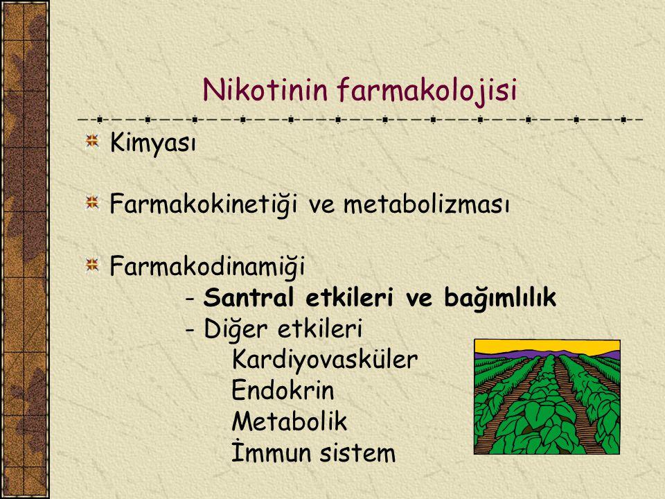 Nikotinin farmakodinamiği Tolerans: Tekrarlanan dozlarda, ilk dozdan daha az etki Artan dozda nikotin Periferik gangliyon depolarizasyonu ve blokajı Nikotinik asetilkolin reseptör desensitizasyonu Gangliyon blokajı ve tolerans