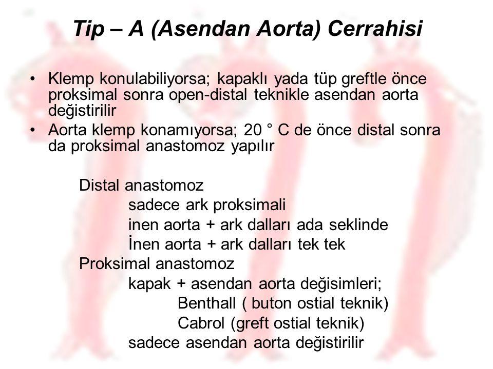 Tip – A (Asendan Aorta) Cerrahisi Klemp konulabiliyorsa; kapaklı yada tüp greftle önce proksimal sonra open-distal teknikle asendan aorta değistirilir