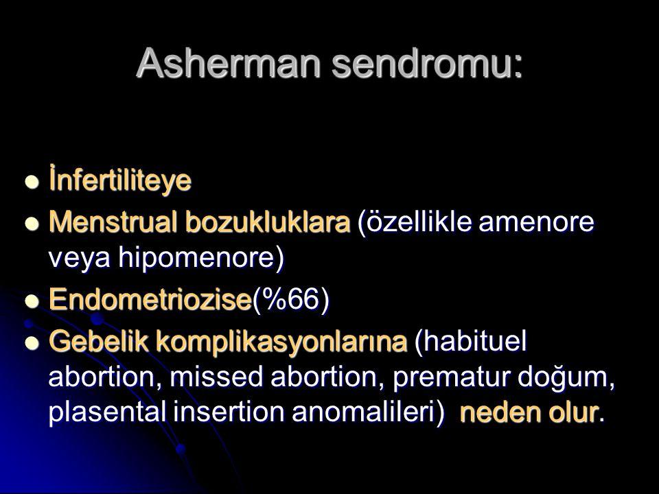 Asherman sendromu: İnfertiliteye İnfertiliteye Menstrual bozukluklara (özellikle amenore veya hipomenore) Menstrual bozukluklara (özellikle amenore veya hipomenore) Endometriozise(%66) Endometriozise(%66) Gebelik komplikasyonlarına (habituel abortion, missed abortion, prematur doğum, plasental insertion anomalileri) neden olur.
