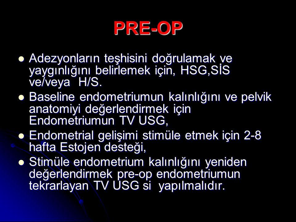 PRE-OP Adezyonların teşhisini doğrulamak ve yaygınlığını belirlemek için, HSG,SİS ve/veya H/S.