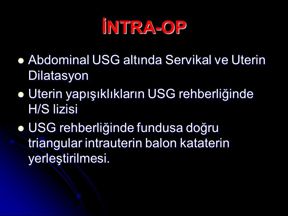 İNTRA-OP Abdominal USG altında Servikal ve Uterin Dilatasyon Abdominal USG altında Servikal ve Uterin Dilatasyon Uterin yapışıklıkların USG rehberliğinde H/S lizisi Uterin yapışıklıkların USG rehberliğinde H/S lizisi USG rehberliğinde fundusa doğru triangular intrauterin balon kataterin yerleştirilmesi.