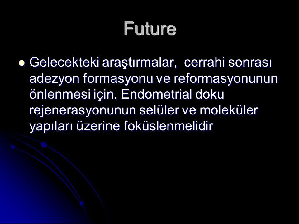 Future Gelecekteki araştırmalar, cerrahi sonrası adezyon formasyonu ve reformasyonunun önlenmesi için, Endometrial doku rejenerasyonunun selüler ve moleküler yapıları üzerine foküslenmelidir Gelecekteki araştırmalar, cerrahi sonrası adezyon formasyonu ve reformasyonunun önlenmesi için, Endometrial doku rejenerasyonunun selüler ve moleküler yapıları üzerine foküslenmelidir