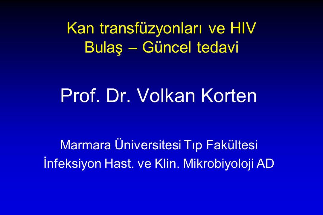 Kan transfüzyonları ve HIV Bulaş – Güncel tedavi Prof.
