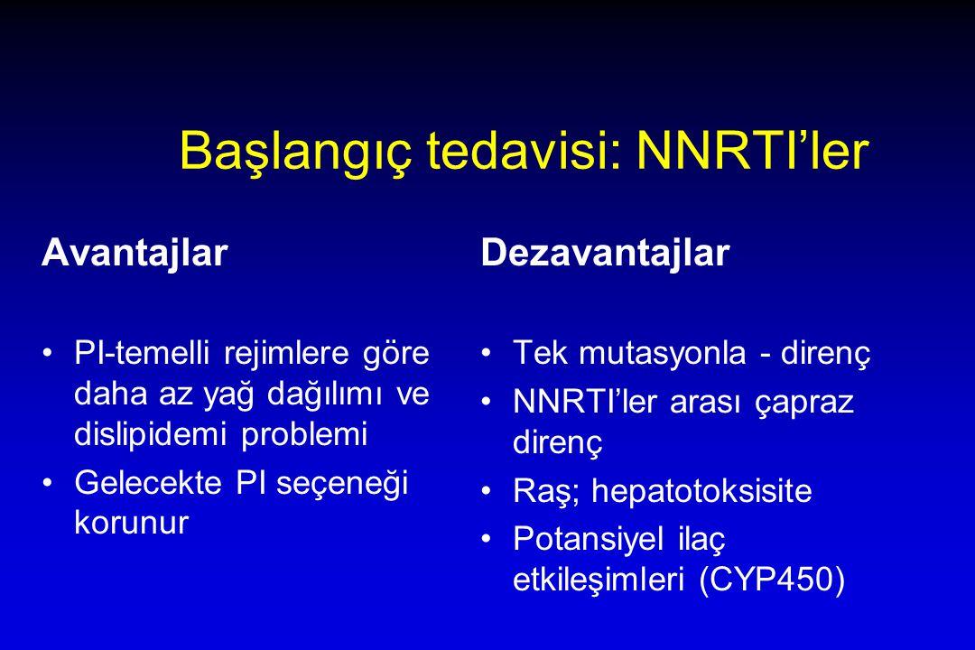 Başlangıç tedavisi: NNRTI'ler Avantajlar PI-temelli rejimlere göre daha az yağ dağılımı ve dislipidemi problemi Gelecekte PI seçeneği korunur Dezavantajlar Tek mutasyonla - direnç NNRTI'ler arası çapraz direnç Raş; hepatotoksisite Potansiyel ilaç etkileşimleri (CYP450)