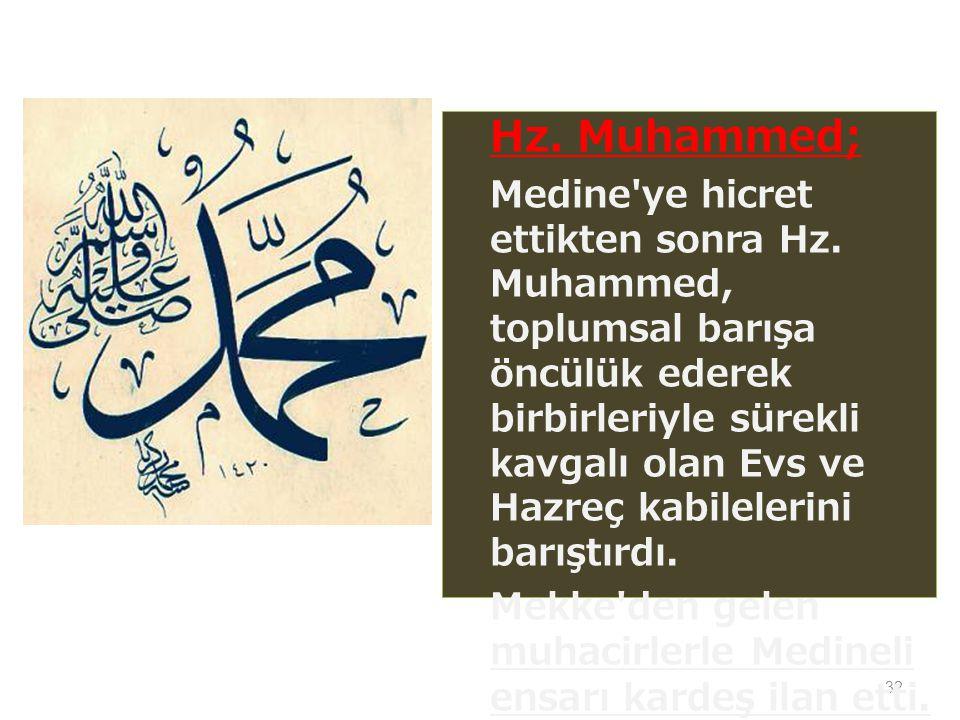 32 Hz.Muhammed; Medine ye hicret ettikten sonra Hz.
