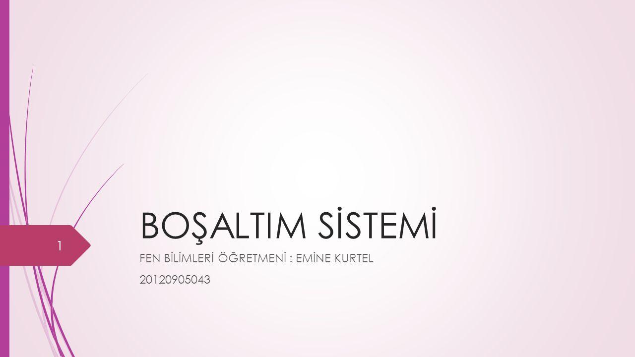 BOŞALTIM SİSTEMİ FEN BİLİMLERİ ÖĞRETMENİ : EMİNE KURTEL 20120905043 1