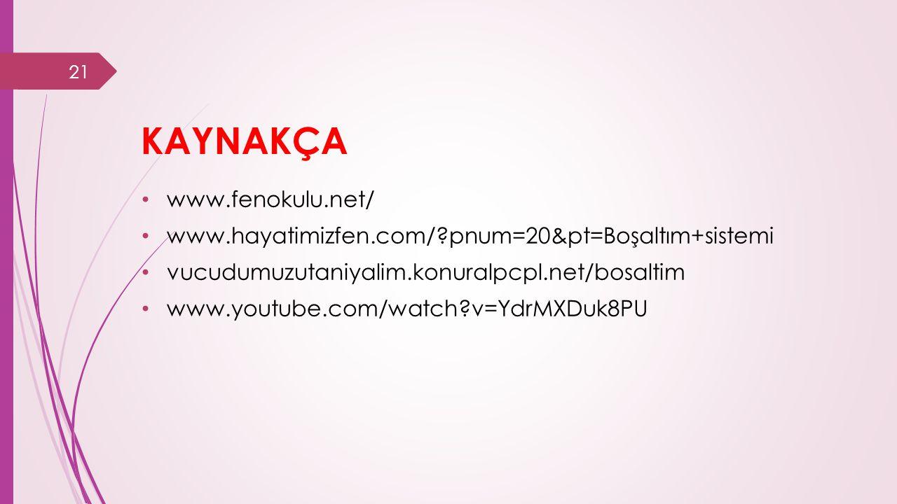 KAYNAKÇA www.fenokulu.net/ www.hayatimizfen.com/?pnum=20&pt=Boşaltım+sistemi vucudumuzutaniyalim.konuralpcpl.net/bosaltim www.youtube.com/watch?v=YdrMXDuk8PU 21