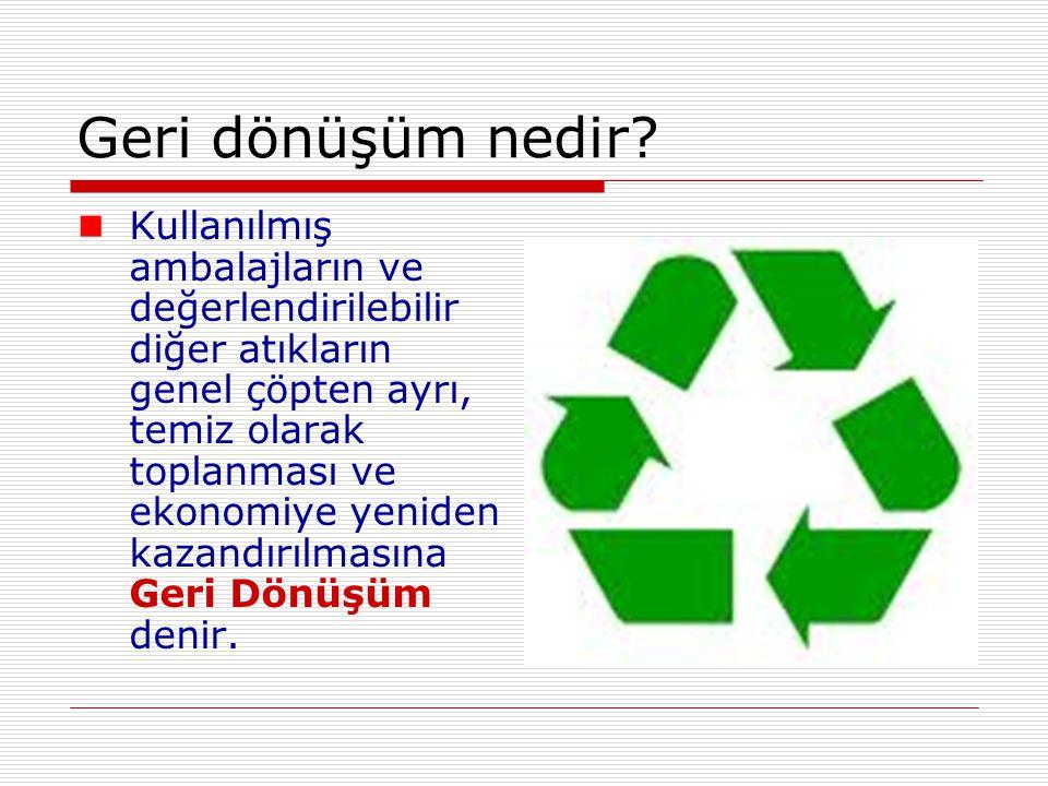 Geri dönüşüm nedir? Kullanılmış ambalajların ve değerlendirilebilir diğer atıkların genel çöpten ayrı, temiz olarak toplanması ve ekonomiye yeniden ka