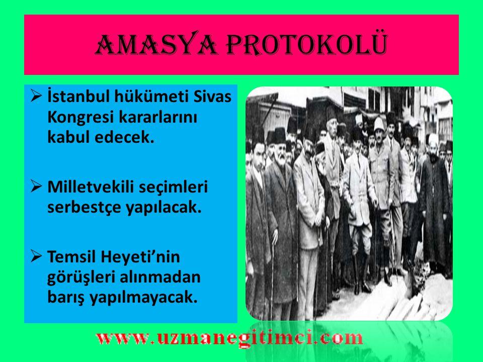 AMASYA GÖRÜ Ş MELER İ Sivas Kongresi sonrasında Damat Ferit istifa etmiş ve yerine Ali Rıza Paşa hükümeti kurulmuştu. Amasya Görüşmeleri Ali Rıza Paşa